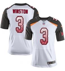 Men's Nike Tampa Bay Buccaneers #3 Jameis Winston Elite White Road Drift Fashion NFL Jersey