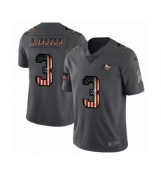 Men's Tampa Bay Buccaneers #3 Jameis Winston Limited Black USA Flag 2019 Salute To Service Football Jersey