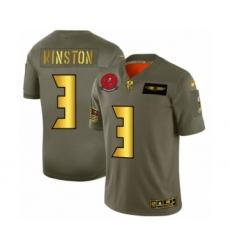 Men's Tampa Bay Buccaneers #3 Jameis Winston Limited Olive Gold 2019 Salute to Service Football Jersey