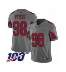 Men's Arizona Cardinals #98 Corey Peters Limited Silver Inverted Legend 100th Season Football Jersey
