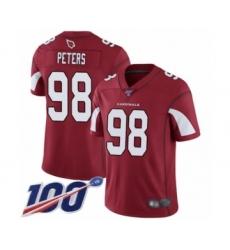 Men's Arizona Cardinals #98 Corey Peters Red Team Color Vapor Untouchable Limited Player 100th Season Football Jersey