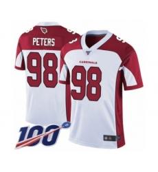 Men's Arizona Cardinals #98 Corey Peters White Vapor Untouchable Limited Player 100th Season Football Jersey