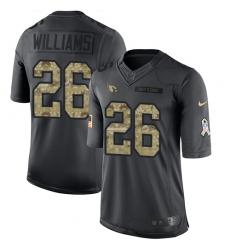 Men's Nike Arizona Cardinals #26 Brandon Williams Limited Black 2016 Salute to Service NFL Jersey
