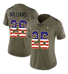Women's Nike Arizona Cardinals #26 Brandon Williams Limited Olive/USA Flag 2017 Salute to Service NFL Jersey