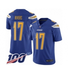 Youth Nike Los Angeles Chargers #17 Philip Rivers Limited Electric Blue Rush Vapor Untouchable 100th Season NFL Jersey