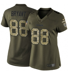 Women's Nike Dallas Cowboys #88 Dez Bryant Elite Green Salute to Service NFL Jersey