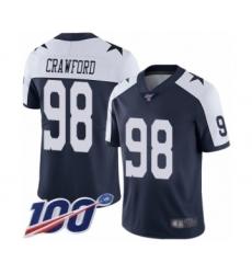 Men's Dallas Cowboys #98 Tyrone Crawford Navy Blue Throwback Alternate Vapor Untouchable Limited Player 100th Season Football Jersey