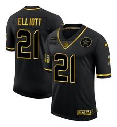 Men's Dallas Cowboys #21 Ezekiel Elliott Olive Gold Nike 2020 Salute To Service Limited Jersey