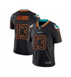 Men's Miami Dolphins #13 Dan Marino Limited Lights Out Black Rush Football Jersey