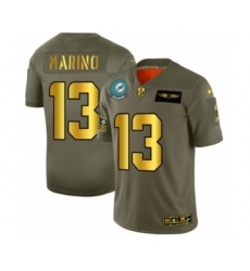 Men's Miami Dolphins #13 Dan Marino Limited Olive Gold 2019 Salute to Service Football Jersey