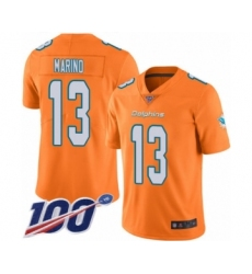 Youth Nike Miami Dolphins #13 Dan Marino Limited Orange Rush Vapor Untouchable 100th Season NFL Jersey