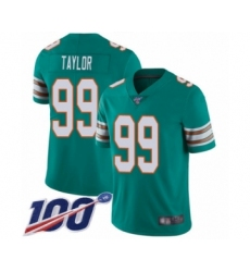 Men's Miami Dolphins #99 Jason Taylor Aqua Green Alternate Vapor Untouchable Limited Player 100th Season Football Jersey