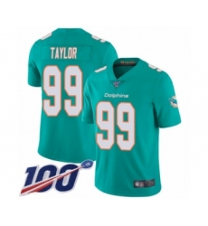 Men's Miami Dolphins #99 Jason Taylor Aqua Green Team Color Vapor Untouchable Limited Player 100th Season Football Jersey