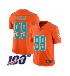 Men's Miami Dolphins #99 Jason Taylor Limited Orange Inverted Legend 100th Season Football Jersey