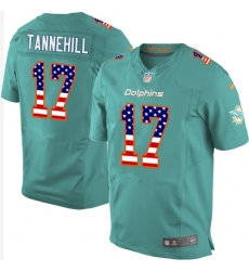 Men's Nike Miami Dolphins #17 Ryan Tannehill Elite Aqua Green Home USA Flag Fashion NFL Jersey
