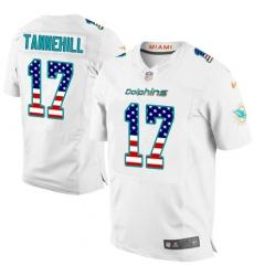 Men's Nike Miami Dolphins #17 Ryan Tannehill Elite White Road USA Flag Fashion NFL Jersey