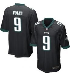 Men's Nike Philadelphia Eagles #9 Nick Foles Game Black Alternate NFL Jersey