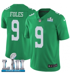 Men's Nike Philadelphia Eagles #9 Nick Foles Limited Green Rush Vapor Untouchable Super Bowl LII NFL Jersey