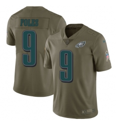Men's Nike Philadelphia Eagles #9 Nick Foles Limited Olive 2017 Salute to Service NFL Jersey