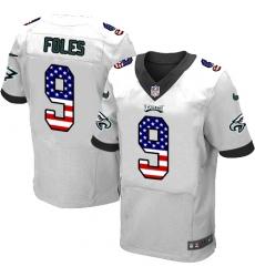Men's Nike Philadelphia Eagles #9 Nick Foles White Road USA Flag Fashion NFL Jersey