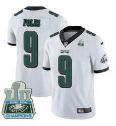 Men's Nike Philadelphia Eagles #9 Nick Foles White Vapor Untouchable Limited Player Super Bowl LII Champions NFL Jersey