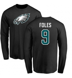 Nike Philadelphia Eagles #9 Nick Foles Black Name & Number Logo Long Sleeve T-Shirt