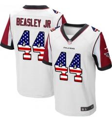 Men's Nike Atlanta Falcons #44 Vic Beasley Elite White Road USA Flag Fashion NFL Jersey