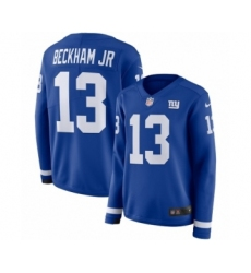 Women's Nike New York Giants #13 Odell Beckham Jr Limited Royal Blue Therma Long Sleeve NFL Jersey