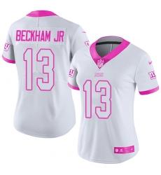 Women's Nike New York Giants #13 Odell Beckham Jr Limited White/Pink Rush Fashion NFL Jersey
