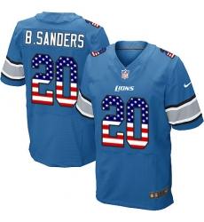 Men's Nike Detroit Lions #20 Barry Sanders Elite Blue Home USA Flag Fashion NFL Jersey