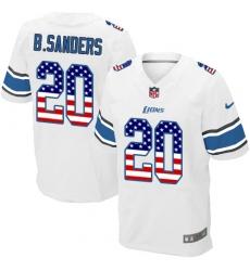 Men's Nike Detroit Lions #20 Barry Sanders Elite White Road USA Flag Fashion NFL Jersey