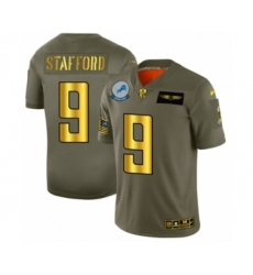 Men's Detroit Lions #9 Matthew Stafford Limited Olive Gold 2019 Salute to Service Football Jersey