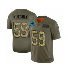 Men's Carolina Panthers #59 Luke Kuechly 2019 Olive Camo Salute to Service Limited Jersey