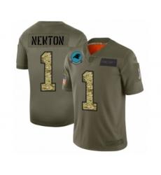 Men's Carolina Panthers #1 Cam Newton 2019 Olive Camo Salute to Service Limited Jersey