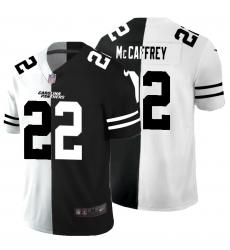 Men's Carolina Panthers #22 Christian McCaffrey Black White Limited Split Fashion Football Jersey