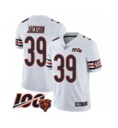 Men's Chicago Bears #39 Eddie Jackson White Vapor Untouchable Limited Player 100th Season Football Jersey
