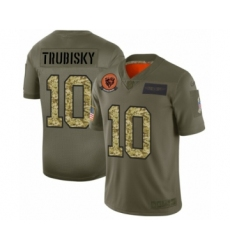 Men's Chicago Bears #10 Mitchell Trubisky 2019 Olive Camo Salute to Service Limited Jersey