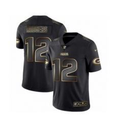 Men Green Bay Packers #12 Aaron Rodgers Black Golden Edition 2019 Vapor Untouchable Limited Jersey