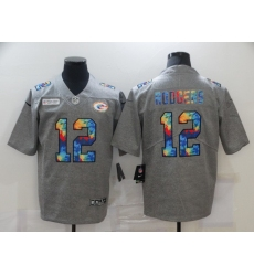 Men's Green Bay Packers #12 Aaron Rodgers Gray Rainbow Version Nike Limited Jersey