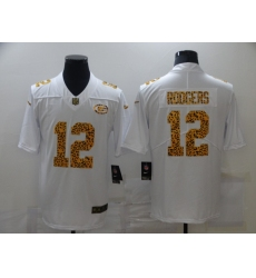 Men's Green Bay Packers #12 Aaron Rodgers White Nike Leopard Print Limited Jersey