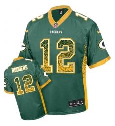 Men's Nike Green Bay Packers #12 Aaron Rodgers Elite Green Drift Fashion NFL Jersey