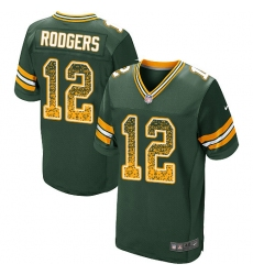 Men's Nike Green Bay Packers #12 Aaron Rodgers Elite Green Home Drift Fashion NFL Jersey