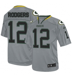 Men's Nike Green Bay Packers #12 Aaron Rodgers Elite Lights Out Grey NFL Jersey
