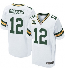 Men's Nike Green Bay Packers #12 Aaron Rodgers Elite White C Patch NFL Jersey