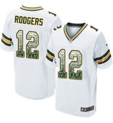 Men's Nike Green Bay Packers #12 Aaron Rodgers Elite White Road Drift Fashion NFL Jersey