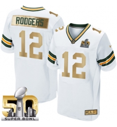 Men's Nike Green Bay Packers #12 Aaron Rodgers Elite White Super Bowl 50 Collection NFL Jersey