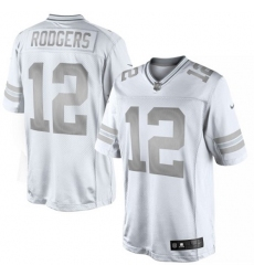 Men's Nike Green Bay Packers #12 Aaron Rodgers Limited White Platinum NFL Jersey