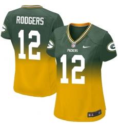 Women's Nike Green Bay Packers #12 Aaron Rodgers Elite Green/Gold Fadeaway NFL Jersey