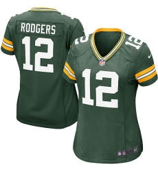 Women's Nike Green Bay Packers #12 Aaron Rodgers Game Green Team Color NFL Jersey