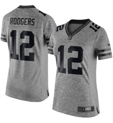 Women's Nike Green Bay Packers #12 Aaron Rodgers Limited Gray Gridiron NFL Jersey